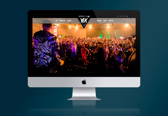 Layout do site Yex Music
