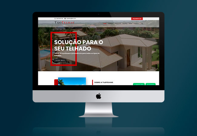 Layout do site Tijo Telhas