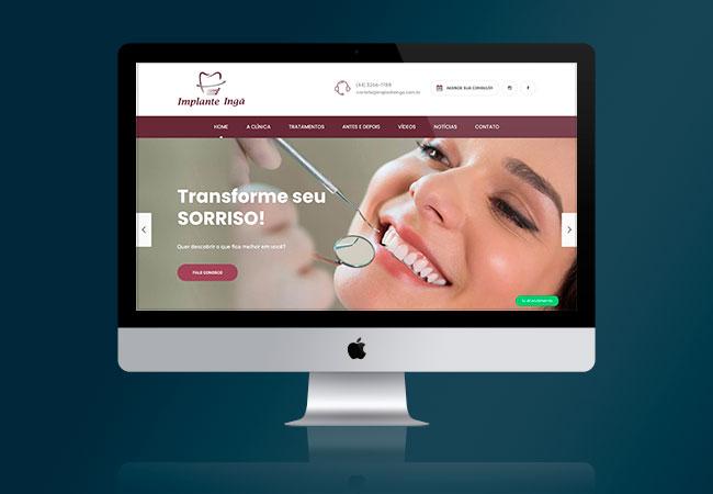 Layout do site Implante Ingá